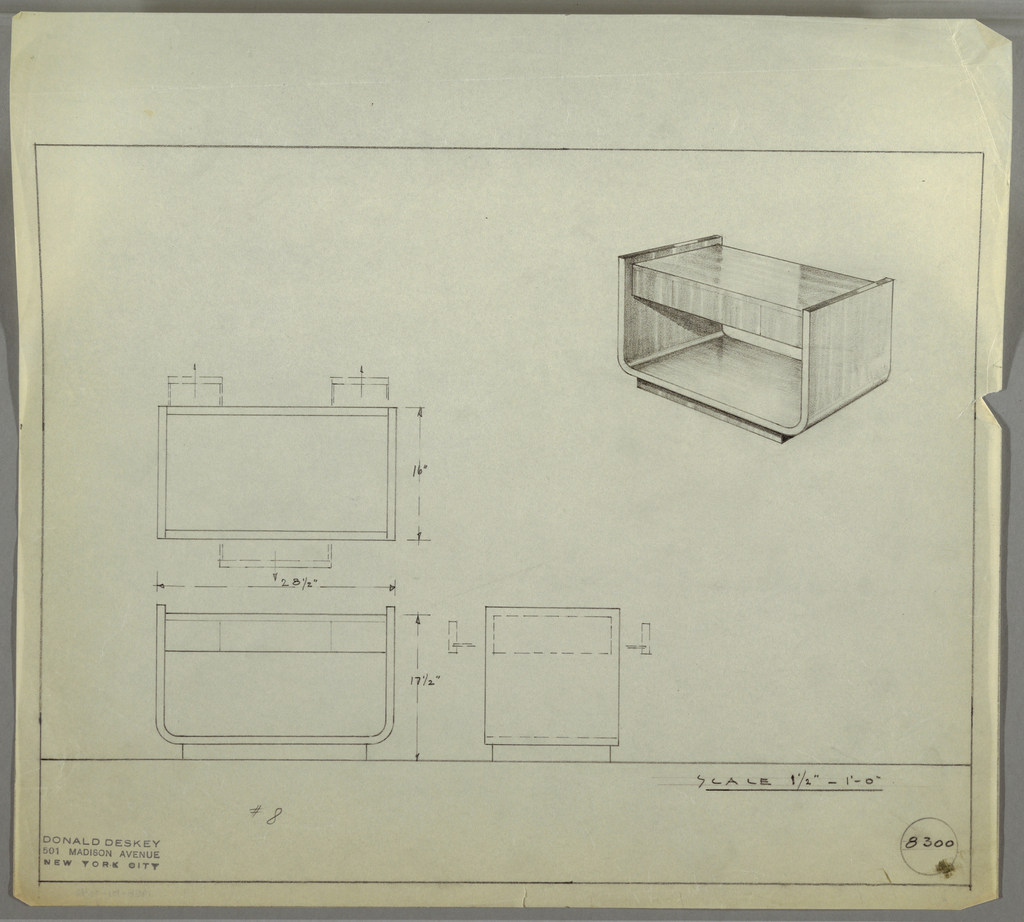 Design for low, double-sided occasional table seen in plan, front and side elevations, and perspective. At upper right, perspective shows U-shaped plane whose arms support rectangular volume with drawers resting on rectangular base. At center left, plan reveals double-sided drawer access with two small side drawers opening from one side and a wider central drawer opening from the other. Below, elevations provide further specs and drawer details. Margins ruled in graphite, inscribed with Deskey No. 8300.