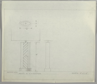 Design for table lamp in metal and alabaster seen in elevation with details of profile and plan. At upper left, detail indicates object is elliptical in plan, with base of slightly smaller circumference than foot. Below, elevation shows ellipsoidal volume with central column ornamented by alabaster slats that tilt leftward from the bottom; at mid-height this ornament turns rightward and continues up to the top of the base, where a cylindrical bulb support is occluded by a shade. At lower center, profile detail reveals shallow, rectangular silhouette from side. Margins ruled in graphite.