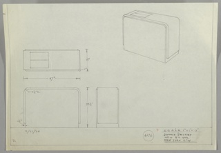 Four drawings for radiator cover:  upper left, in plan; upper right, in perspective; lower left:  from front; lower center, in profile.  Design  for a streamline radiator cover; rectangular in shape with a overlay of material and leaving two flip over vents for tuning.  Measurements on three drawings on left.