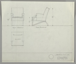 Three views of armchair:  upper left, chair from front; upper center,  armchair in profile; lower left, armchair in plan from above.  Chair has upholstered back and side-arms and seat; cushions lightly shaded to suggest volume; metal square-tube frame running from front of upholstered arm, in curve down to ground and in straight diagonal up to seat-back and short curve down to ground forming back leg; front support runs horizontally across floor from leg to leg; back support runs across back of chair at bottom of cushion from back left to right back legs.  Ruled border along left and lower edges, creating margin.