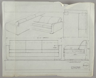 Sofa in five drawings:  upper left, partial views in perspective from back and front; upper right, one end, in plan; lower left, from front; lower right, in profile.  Three cushions arms and frame, upholstered; four low and square feet. Dimensions on lower drawings.