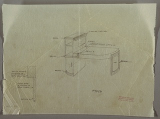 Drawing, Desk with Built-in Lighting, ca. 1929