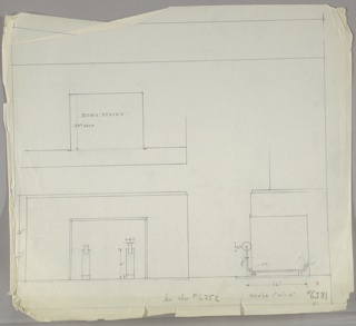 Three drawings of fireplace and andirons:  upper left, front; lower left, from front with anirons; lower right in profile.  Dimensions throughout; ruled border, leaving margins above and below.