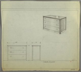 """Wide three-drawer chest with two knobs, positioned left and right, per drawer. Scale: 1""""-1'-0"""""""