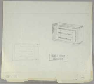 Two drawings for sideboard:  upper right, in perspective; lower left, head on. Lower left drawing very sketchy, either traced or drawn by another hand.  Sideboard with right curved side.  Outer case in burl wood tor top, left side and base; remainder of cabinet in light wood.  Three drawers have horizontal pulls, upper one extends vertically down the right curved corner of the cabinet.  This section probably opens for more storage.  Ruled lines on four sides of sheet plus margin.