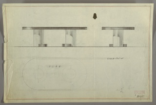Drawing, Table, Conference-Cylindrical Base