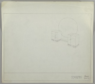 Drawing, Vanity with Round  Mirror, ca. 1930s