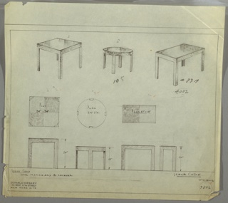 Drawing, Three Designs for End Tables: Square, Round, and Rectangular