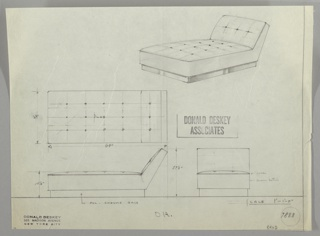 Three drawings of daybed:  upper right, in perspective; center left, from above; lower left, in profile; lower right, head-on.  Upholstered daybed with tufted back and bed cushions on polished chrome base.  Drawing of mattress has tufting buttons layed out to scale.  Measurements on center and lower left drawings.