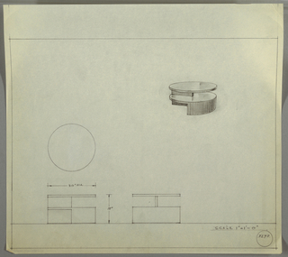 Design for low, round, two-tiered occasional table seen in plan, two elevations, and perspective. At upper right, perspective describes round table supported by half-height semi-circular foot with perpendicular vertical support that runs object height. Two circular surfaces form tiered shelves. At center left, plan describes object footprint while below, at left and center, elevations describe support structure. Margins ruled in graphite. Inscribed with Deskey No. 8290.