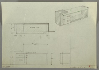 Four views of vanity table:  center left, in plan from above; upper right in perspective; lower left, from front; lower right, in profile.  Ruled margin below.