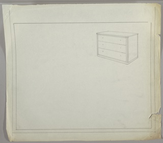 Design for chest in perspective, with three drawers and possible in-set moldings on four sides.  Location of drawer pulls are marked but not defined.  Ruled border on four sides; double ruled border on right, left and lower edges.