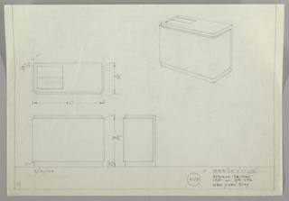 jFour drawings for cabinet:  center left, in plan from above; upper right, in perspective with two rectangular openings (?) on top; lower left, from front; lower center in profile.  Ruled boarder on sides and lower edge. Left hand drawings contain measurements.  Cabinet with two curved front ends.  Two openings in top left, presumably for tuning