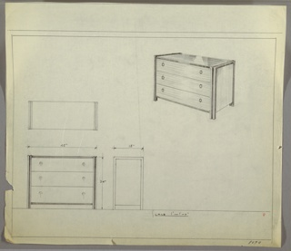 """Scale: 1""""-1'  Wide three-drawer chest; knobs left and right, each drawer. Striated frame extends into right and left legs, front and back."""