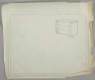 One drawing on sheet at upper right.  chest of three drawers on base; sides curved toward front.; circular drawer knobs of unspecified material.
