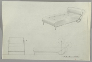 Three drawings of daybed with metal frame:  upper right, in perspective; lower left, head-on; lower right in profile.  With tufted lower cushion that curves on the ends and horizontal round swivelling cushion on shorter end that can be used in two positions; up for daytime and down for sleeping.  Horizonal frame at headboard end, curves in a semicircle.