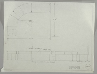 Two drawings:  upper left curving sofa from above; view of sofa head-on and flattened.