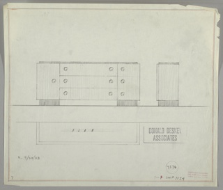Sideboard in three drawings: center left, from front; center right in profile; lower left, in plan. Body in light-toned wood with top and two-pedestal base in dark wood.  Divided in three sections with three drawers in center and one larger cabinet on each side.  Pulls are circular rings.  Bordered in graphite and red color pencil on four sides.