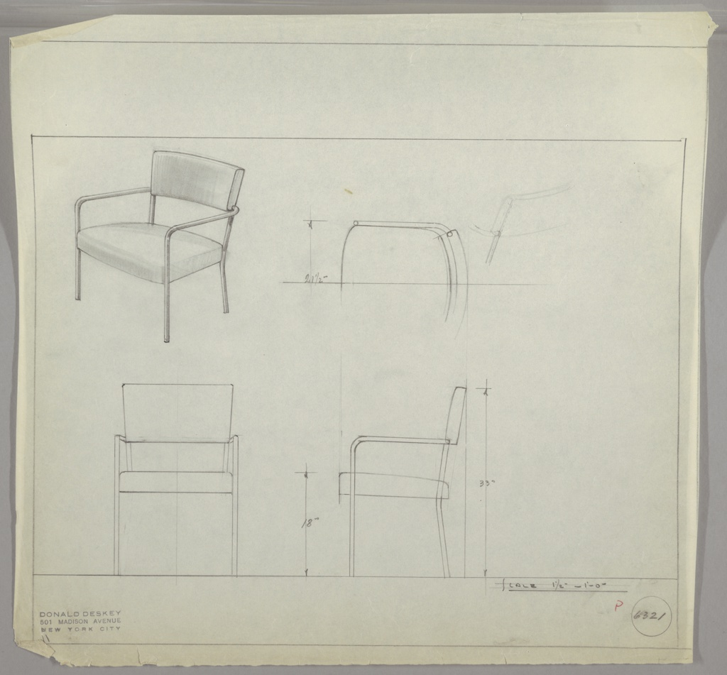 Drawing, Design for Metal Armchair with Upholstered Seat and Back