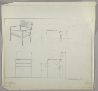 Armchair in four drawings:  upper left, in perspective; upper right in plan; lower left, from front; lower right, in profile.  Chair with tubular metal legs and back.  Back half cushion and full seat cushion in leather or other textile upholstery.  Graphite border on four sides leaving margin below.  Measurements on two right-hand drawings.