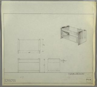 Design for low end table with hidden drawer and shelf seen in plan, front and side elevations, and perspective. At upper right, perspective shows rectangular end table with lower shelf and concealed drawer supported by two planes on sides. Tabletop zig-zags over side support planes and is nestled in between. At center left, plan indicates object footprint and relative depth of components, while below at left and center, elevations provide additional specs and drawer details. Margins ruled in graphite. Inscribed with Deskey No. 8316.