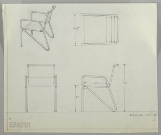 Four views of metal armchair:  upper left, in perspective; upper right, from above; lower left from front; lower right, in profile.  Chair distinctive for bent metal framework which appears to be fabricated in one piece, running from chair back through seat to upper arm, down to rear leg and up on the diagonal to base of seat, down to front leg.  Measurements on upper and lower right drawings.
