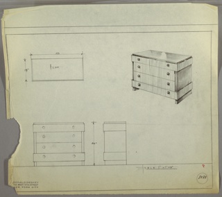 """Four-drawer chest; narrower top and bottom drawers extend to edge on left and right; two middle drawers are indented at sides. Bottom drawer rests on side supports only. Two knobs, positioned left and right, per drawer. Scale: 1""""-1'"""