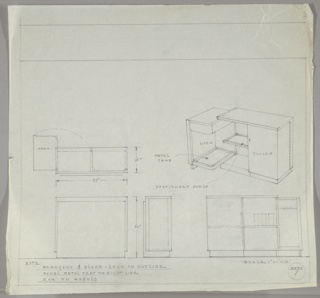 Five drawings for bar:  center left, from above; center right, in perspective; lower left, from front; lower center, in profile; lower right from rear.  Bar in wood (mahogany) which opens in two wings, from behind. Measurements on two left drawings.