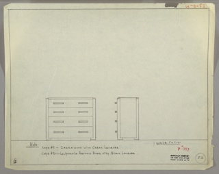 """Scale: 1""""-1'  Four-drawer chest; top drawer narrower than other three; horizontal pulls, left and right, each drawer."""