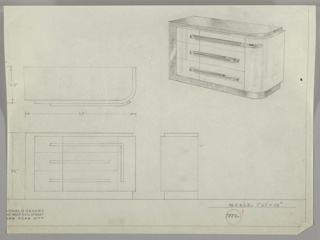 In four drawings:  upper left, in plan; upper right, in perspective; lower left, from front; center right:  in profile.  Ruled border on right and lower edges, leaving margin below.  Classic assymetrical Deskey sideboard in two treatments;  lacquer body  with burl wood top, left side, and base. Curve on right edge of cabinet;base wrapping around left side and continuing on top.  Three drawers, with square metal tube pulls, longer one on top wraps around curved cabinet. Right side of cabinet swings out from front. Measureents on two lower drawings.