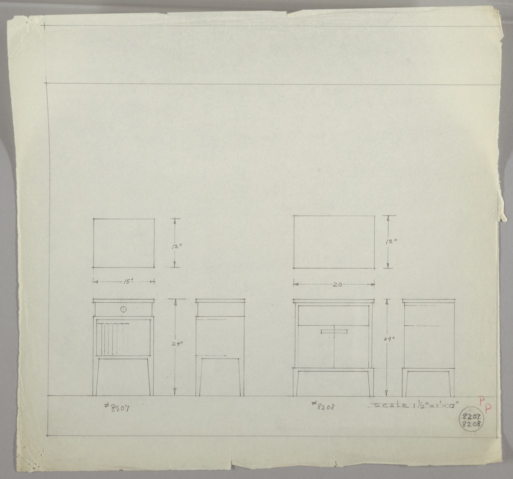 Two tables shown in three drawings each:  At center left, table in plan, at lower left table from front; lower center, table in profile.  At center right:  table in plan; lower right quadrant, table from front; at lower right, table in profile.  Table at left has drawer with round pull, with open area below for books; table at right has panel or perhaps open area above and two doors opening out from center below.  Measurements throughout.