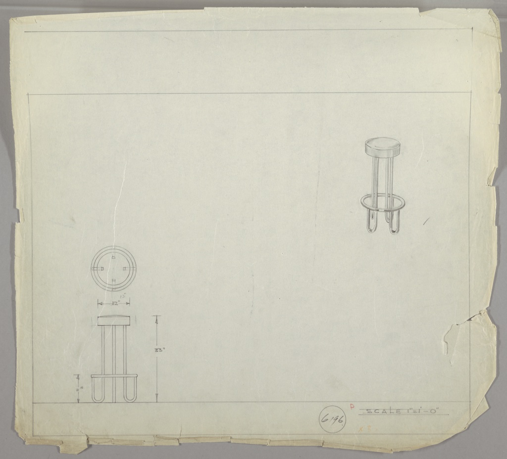 """Design for bar stool in three drawings: center left: in plan; upper right, in perspective; lower left, in profile.   Bar stool with upholstered cushion; four metal supports ending in """"U""""-shaped legs curving up to metal ring.   Scale: 1"""" = 1'"""
