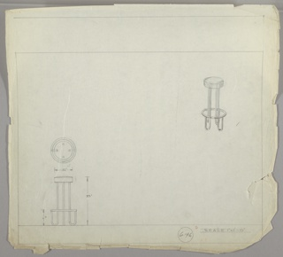 "Design for bar stool in three drawings: center left: in plan; upper right, in perspective; lower left, in profile.   Bar stool with upholstered cushion; four metal supports ending in ""U""-shaped legs curving up to metal ring.   Scale: 1"" = 1'"