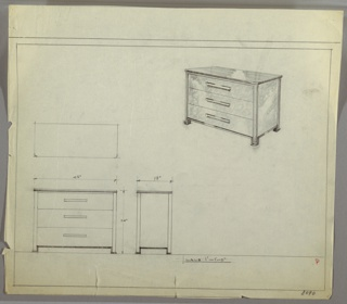 """Scale: 1""""-1'  Wide three-drawer chest on short, square-shaped legs. Long, narrow pulls, centered, one each drawer."""