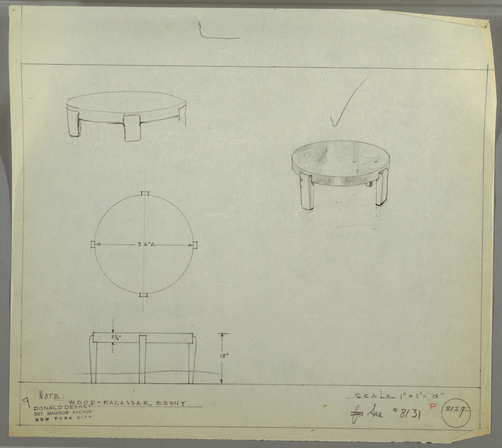 Design for low, round occasional table in Macassar ebony seen in plan, elevation, and perspective. At upper right, perspective shows low round table with disc-like top and four wide rectangular legs that curve inward at top. At upper left, rough perspective sketch shows similar table with shorter legs. Below, at center left, plan describes object footprint while below at lower left, elevation describes height and tabletop depth. Legs in elevation appear much thinner than those in perspectives. Margins ruled in graphite. Inscribed with Deskey No. 8129 with note to see Deskey No. 8131.
