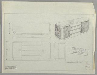 "Four drawings upper left, from above; upper right, in perspective;  lower left, from the front; lower right, in profile.  Design for a sideboard with burled wood panels curving around sides to the front, with top, three drawers and base in lighter wood; drawer handled in metal tubing; two ""ornamental"" round knobs on burled wood casing.  Ruled lines in graphite on all sides and to create lower margin."