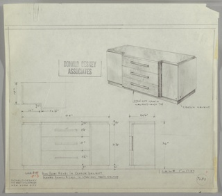 Design for sideboard seen in partial plan, front and side elevations, and perspective. At upper right, perspective shows rectangular object with recessed base in straight grain walnut supporting central, stepped-out stack of three drawers with horizontal pulls, with cabinets on either side accessed by vertical, stepped pulls. Drawer fronts and top in straight grain walnut while drawer ends, cabinet doors, and sides in crotch walnut. Inscribed with Luce No. 13 and Deskey No. 7683.