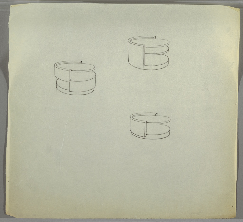 Drawing, Table:Low, Round, with Shelves