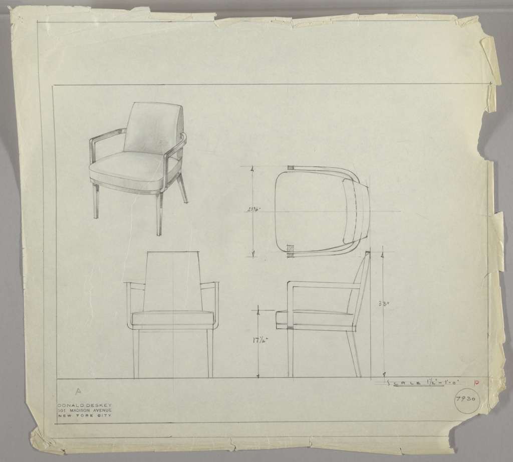 Armchair with wood arms, cushion support and legs.  Upholstered seat and cushion.  Measurements on two right-hand drawings. Double ruled border on four sides.