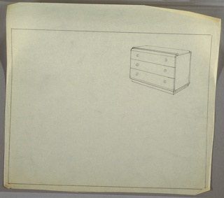Low, wide three-drawer chest; round knobs, left and right, two per drawer.