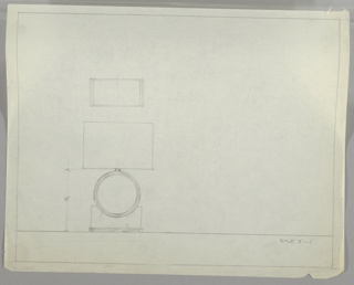 Design for table lamp in elevation and plan. At lower left elevation for lamp with rectangular footed base over which a circular disc with accent border is imposed. This gives rise to cylindrical support for lightbulb, mostly eclipsed by either circular or rectangular shade without visible finial. Above, plan reveals rectangular footprint. Margins ruled in graphite.