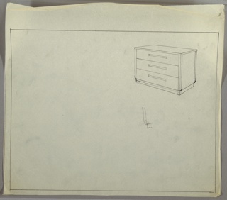 Wide three-drawer chest on base; long, narrow pulls, centered, one per drawer.