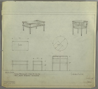Drawing, Two Designs for End Tables: Rectangular and Round