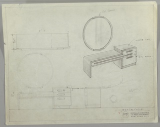 Drawing, Vanity/ Round Mirror, 1933–35