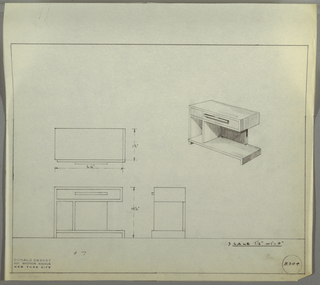 Design for end table with drawer and divided shelf seen in plan, front and side elevations, and perspective. At center right, perspective shows rectangular end table with wide base resting on perpendicular runners on sides to form bottom shelf, which is divided by vertical support. Rectilinear drawer with wide rectangular pull cantilevered over base supported by shelf divider and rear panel. At center left, plan descibres object footprint while below at left and center, elevations provide further specs. Margins ruled in graphite. Inscribed with Deskey No. 8304.