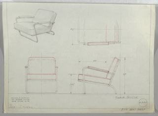 Four drawings for chair; upper left, in perspective, upper right, in plan, lower left, from front, lower right, in profile.  Chair with upholstere seat and back cushion.  Metal frame on rear of cushion; two other metal tubes attached to back frame become arms which bend vertically to form continuous base.; a similar tubed base creates back continuous leg.  Bordered in graphite on three sides. Measurements on plan and profile drawings,