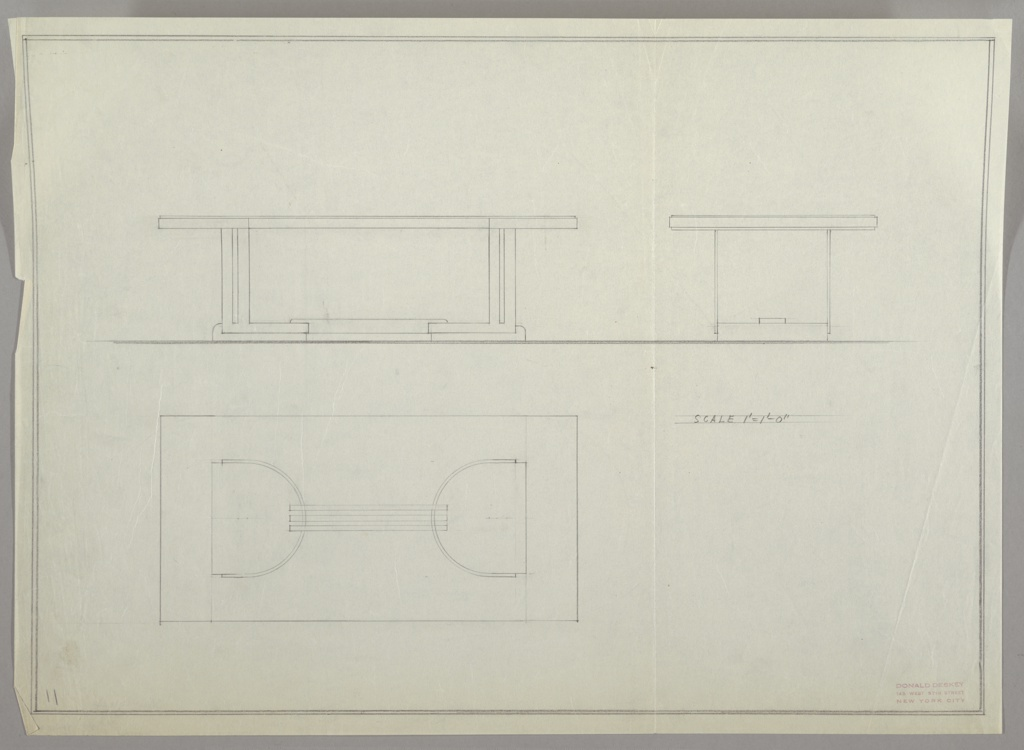 Three drawings for dining table:  upper left, from front; upper right, from end; lower left, from top (plan).  Base ot table with two tubular metal horse-shoe-shaped bases joined by three tubular metal horizontal bands. Slotted into curving bases are four L-shaped vertical supports.