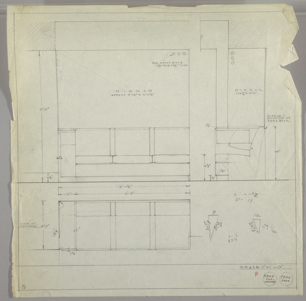 Built-in sofa and end cabinet designed for a particular commission. Upper half of sheet shows sofa with three cushions with wide panel (wood/upholstered?) between each cushion. Large mirrored wall behind running up to beam above.  Mirror has three polished metal discs placed horizontally at upper right corner.  Drawing at right: sofa from end showing second mirrored panel above with three discs running vertically above left.  Lower part of sheet, end cabinet and sofa from the back.  Small sketches with measurements at lower right.  Other measurements throughout. Graphite border on our sides leaving margin below.