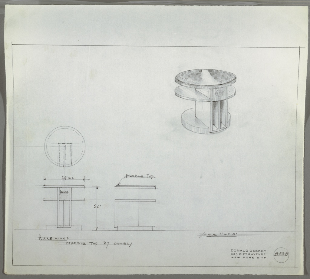 Design for round, two-tiered end table with marble top seen in plan, two elevations, and perspective. At upper right, perspective shows end table with two circular tiers, the top one in marble, supported by vertical, rectilinear box divided into two volumes set into thicker, smaller circular base. At center left, plan describes object footprint and construction while below, two elevations provide additional dimensions and material specs. Margins ruled in graphite. Inscribed with Deskey No. 8538.