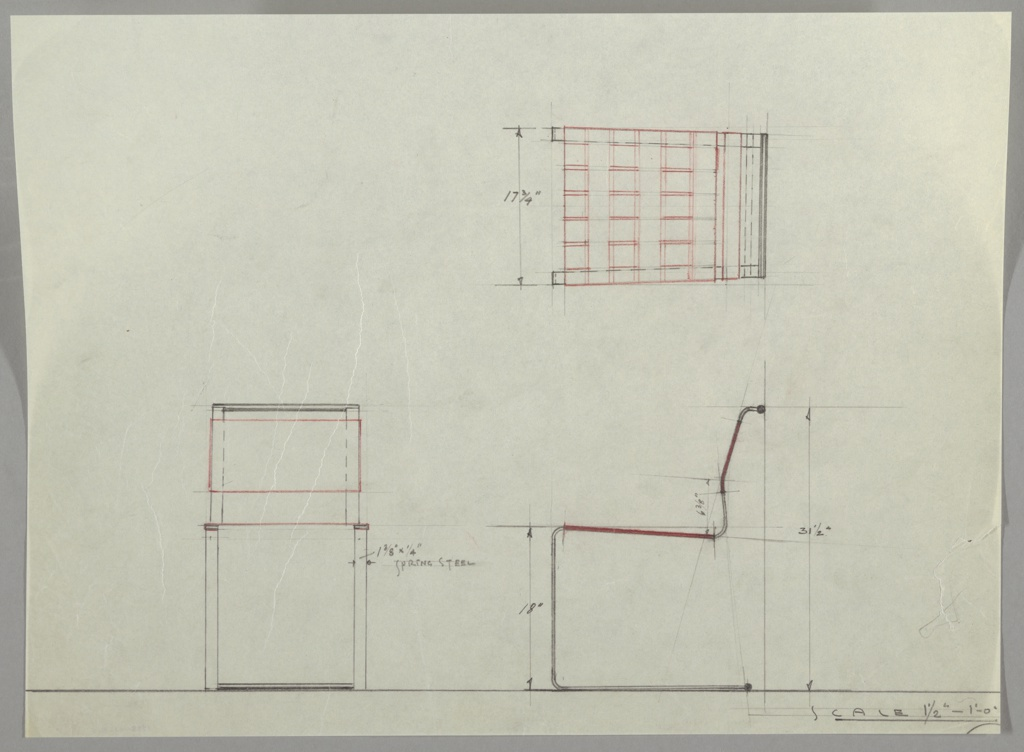 Drawing, Design for Cantilevered Side Chair
